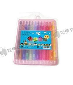 YJ-7360(長) 彩色旋轉蠟筆12色 (塑膠盒裝)
