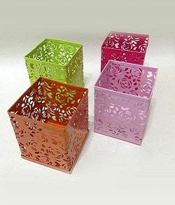 方形筆筒-鏤空玫瑰花紋 鐵製 1個入