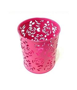 圓形筆筒-鏤空玫瑰花紋 (鐵製)